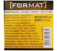 Бумага для заметок 80х80, 300л, проклеенная,Format,27993
