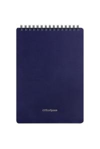 """Блокнот А5 60л. на гребне OfficeSpace """"Base"""", синяя пластиковая обложка, Б5к60грП_35407"""