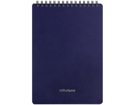"Блокнот А5 60л. на гребне OfficeSpace ""Base"", синяя пластиковая обложка"