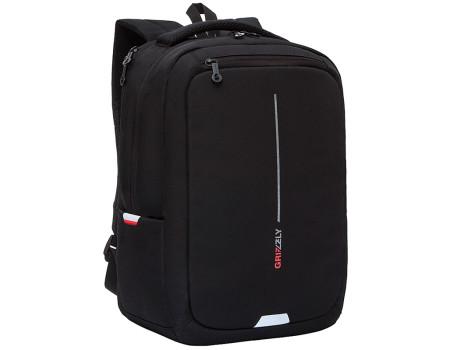 Рюкзак Grizzly, 29*41,5*18см, 1 отделение + отделение для ноутбука, 2 кармана, анатомическая спинка, чёрный-красный