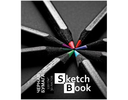 "Скетчбук-блокнот 30л А5 на гребне ПЗБМ ""Карандаши"", 120г/м2, черная, УФ-лак, ТВИН-лак, тисн.фольг."