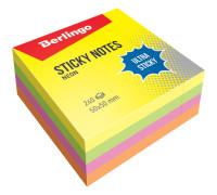 """Самоклеящийся блок Berlingo """"Ultra Sticky"""", 50*50мм, 240л, 4 неоновых цвета, LSn_40102"""
