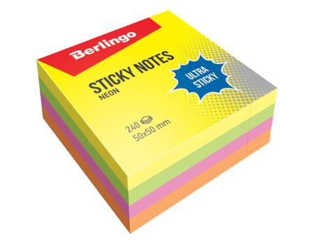 """Самоклеящийся блок Berlingo """"Ultra Sticky"""", 50*50мм, 240л, 4 неоновых цвета"""