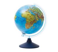 Глобус физико-политич. рельеф. Globen, 25см, интерактивный, с подсв. от батареек на круг. подставке, INT12500287