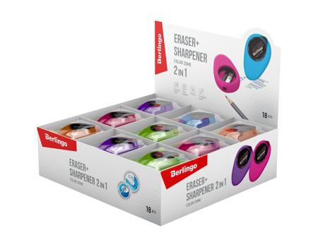 """Ластик-точилка Berlingo """"Color Zone"""", 1 отверстие, контейнер, цвета ассорти"""