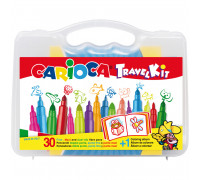 Набор для рисования Carioca 30 фломастеров + раскраска, пластиковая коробка с ручкой, 43260