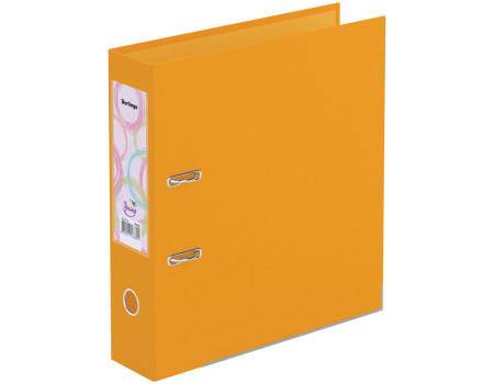 """Папка-регистратор Berlingo """"Spring"""", 70мм, бумвинил, двухстор., с карманом,ниж. мет. кант, оранжевая"""