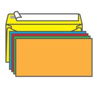 Конверт С65, KurtStrip, 114*229мм, б/подсказа, б/окна, отр. лента, радуга (5цв.*2шт.), 225А.10