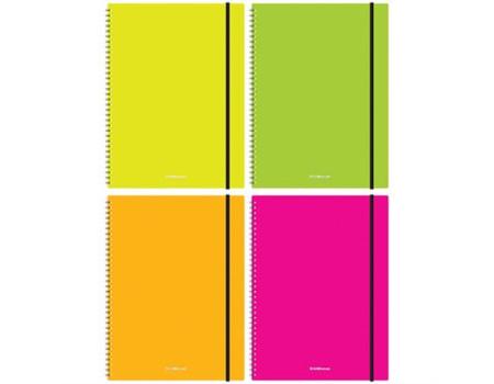 "Тетрадь 80л., А4, клетка на гребне Erich Krause ""Neon"", пластиковая обложка, на резинке"
