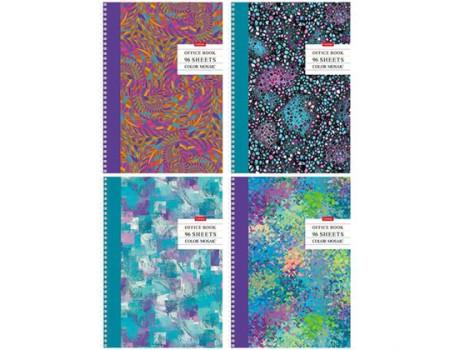 """Тетрадь 96л., А4, клетка на гребне Hatber """"Color mosaic"""", глянцевая ламинация"""