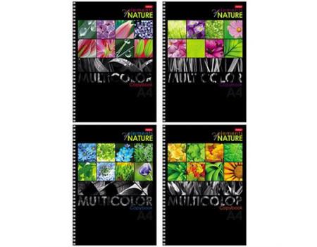 """Тетрадь 96л., А4, клетка на гребне Hatber """"Multicolor"""", выборочный уф-лак"""