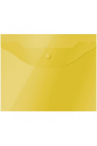 114Папка-конверт на кнопке OfficeSpace А5 (190*240мм), 150мкм, полупрозрачная, жёлтая, 267528