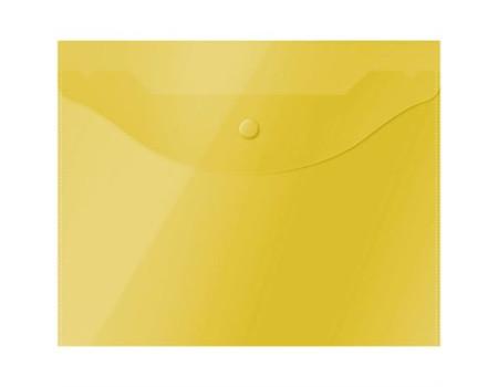 Папка-конверт на кнопке OfficeSpace А5 (190*240мм), 150мкм, полупрозрачная, жёлтая