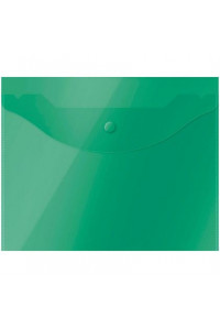 114Папка-конверт на кнопке OfficeSpace А5 (190*240мм), 150мкм, полупрозрачная, зелёная, 267529