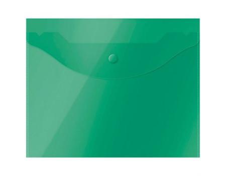 Папка-конверт на кнопке OfficeSpace А5 (190*240мм), 150мкм, полупрозрачная, зелёная