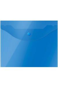 Папка-конверт на кнопке OfficeSpace А5 (190*240мм), 150мкм, полупрозрачная, синяя, 267531