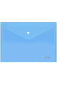 """Папка-конверт на кнопке Berlingo """"Starlight"""", А4, 180мкм, прозрачная голубая, индив. ШК, AKk_04110"""