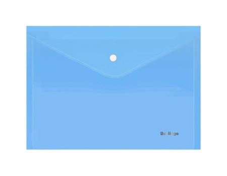 """Папка-конверт на кнопке Berlingo """"Starlight"""", А4, 180мкм, прозрачная голубая, индив. ШК"""