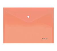 """Папка-конверт на кнопке Berlingo """"Starlight"""", А4, 180мкм, прозрачная оранжевая, индив. ШК, AKk_04116"""