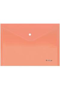 """114Папка-конверт на кнопке Berlingo """"Starlight"""", А4, 180мкм, прозрачная оранжевая, индив. ШК, AKk_04116"""