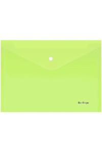 """Папка-конверт на кнопке Berlingo """"Starlight"""", А4, 180мкм, прозрачная салатовая, индив. ШК, AKk_04119"""