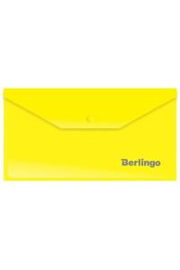 Папка-конверт на кнопке Berlingo, C6, 180мкм, желтая, AKk_06305