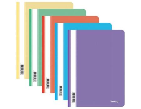 Папка-скоросшиватель пластик. Berlingo, А4, 180мкм, ассорти с прозр. верхом