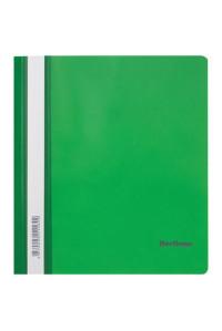 115Папка-скоросшиватель пластик. Berlingo, А5, 180мкм, зелёная с прозр. верхом, индив. ШК, ASp_05104
