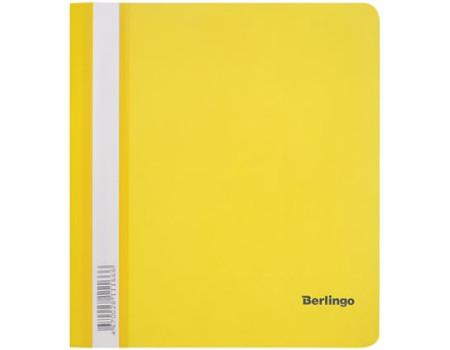 Папка-скоросшиватель пластик. Berlingo, А5, 180мкм, жёлтая с прозр. верхом, индив. ШК