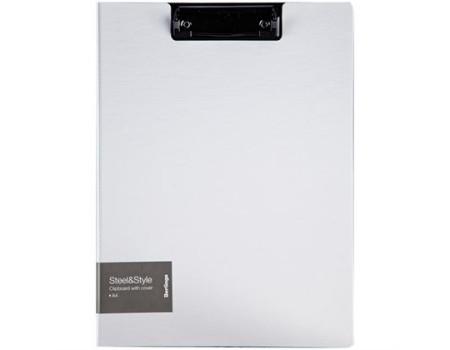 """Папка-планшет с зажимом Berlingo """"Steel&Style"""" A4, пластик (полифом), белая"""