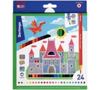 "Карандаши цветные Berlingo ""SuperSoft. Замки"", 24цв., заточен., картон, европодвес, SS00124"