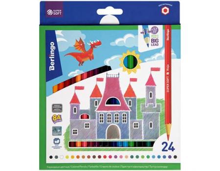 """Карандаши цветные Berlingo """"SuperSoft. Замки"""", 24цв., заточен., картон, европодвес"""