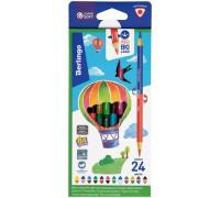 """Карандаши цветные двусторонние Berlingo """"SuperSoft. Duo"""", 24цв, 12шт, трехгр., заточ., европ., SSD0124"""