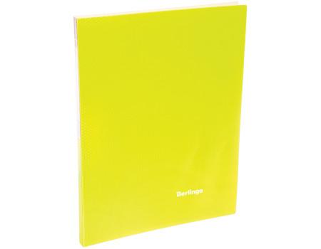 """Папка с 20 вкладышами Berlingo """"Neon"""", 14мм, 700мкм, неоновая желтая"""